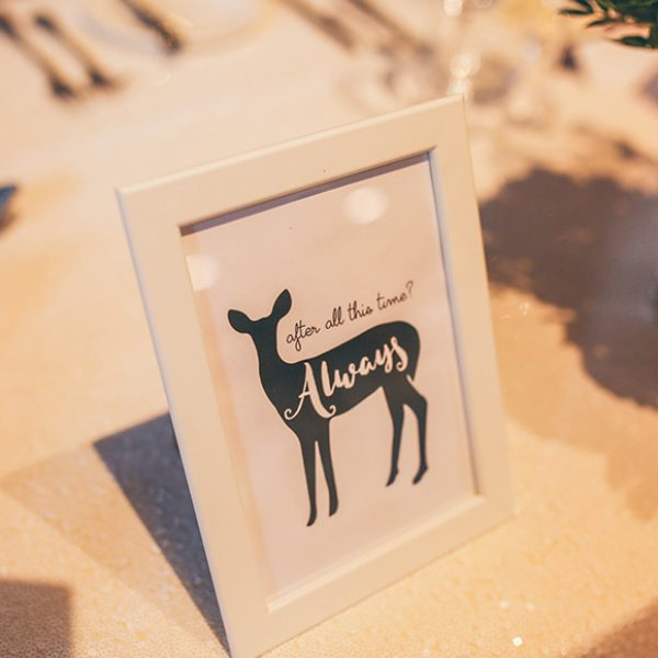 A nod to Harry Potter continued throughout this summer wedding at Gaynes Park with simple wedding decorations