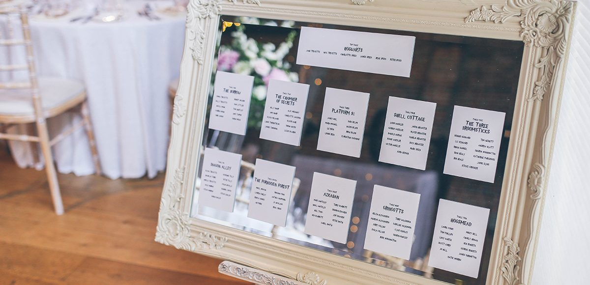 This Harry Potter inspired wedding at Gaynes Park had a simple Harry Potter inspired table plan