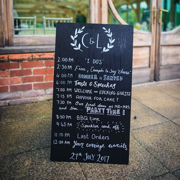 For your wedding at Gaynes Park inform guests of your running order with a rustic chalkboard wedding sign
