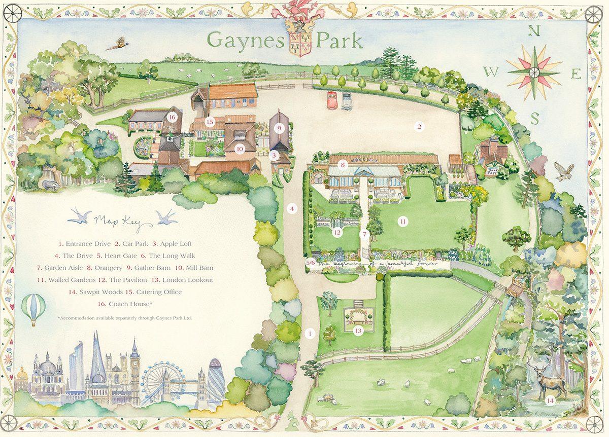 Gaynes Park Watercolour Map