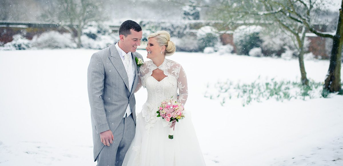 The gardens at Gaynes Park wedding venue in Essex are beautiful throughout the seasons come rain or snow