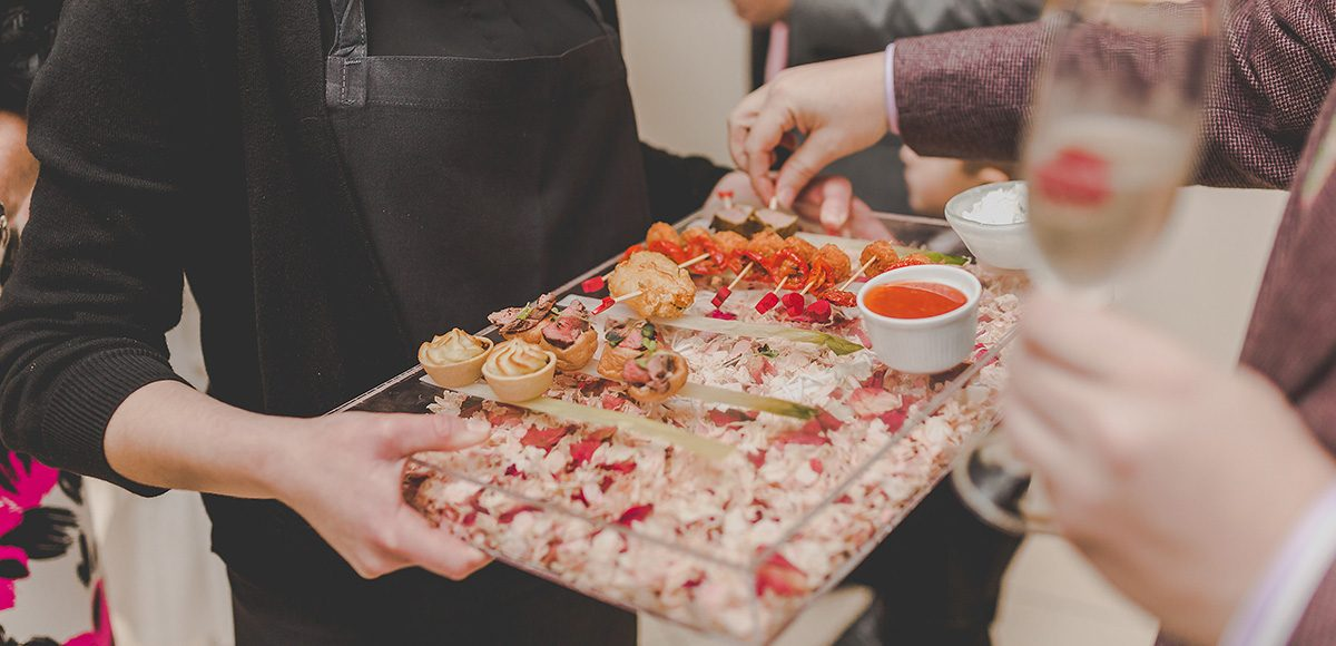 Serve delicious wedding canapes created by our expert on-site catering team during your drinks reception at Gaynes Park wedding venue in Essex