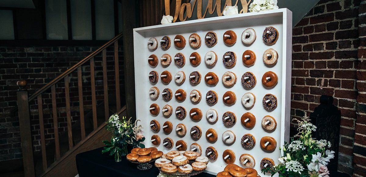 A doughnut wall was a great addition to this fun wedding at Gaynes Park
