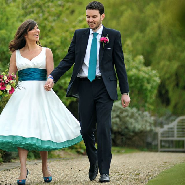Bride and groom enjoy the Gaynes Park gardens – wedding venues in Essex