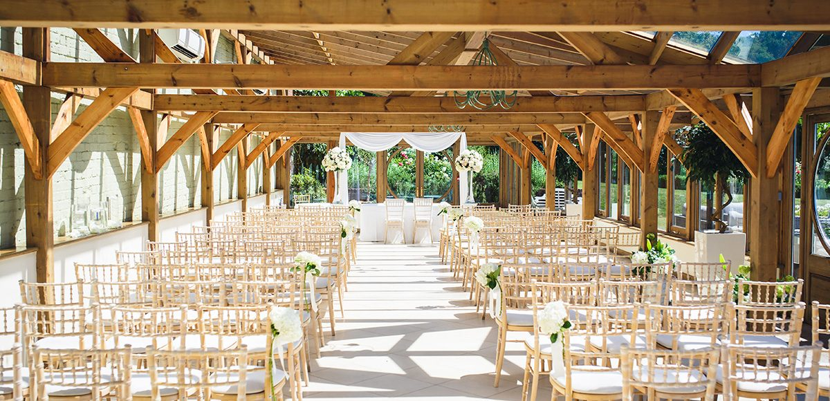The Orangery at Ganyes Park is dressed for an elegant all-white wedding