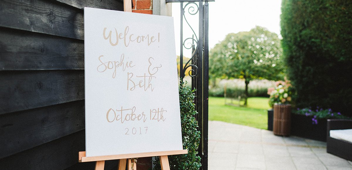 A white wedding welcome sign stands out at this summer wedding at Gaynes Park