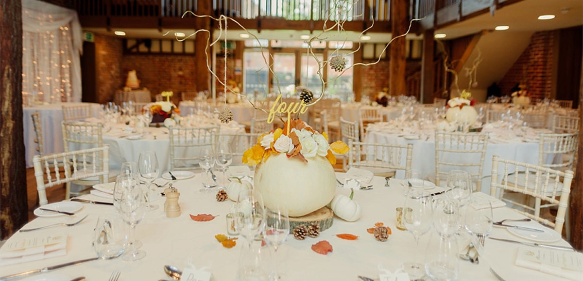 For an autumn wedding at Gaynes Park in Essex why not use pumpkins within your wedding centrepieces