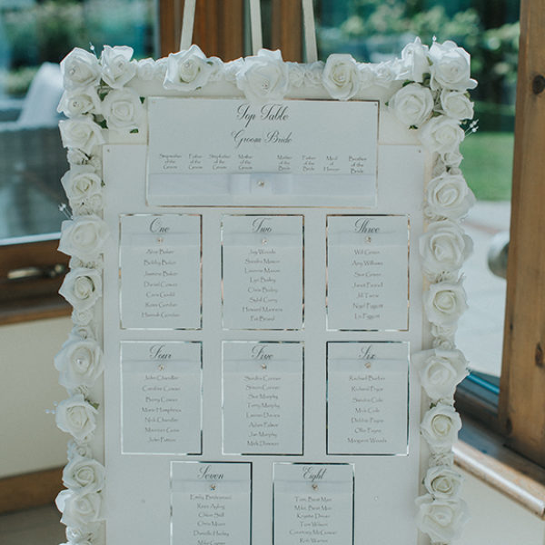 A white and silver wedding table plan is decorated with white florals for a late summer wedding at Gaynes Park